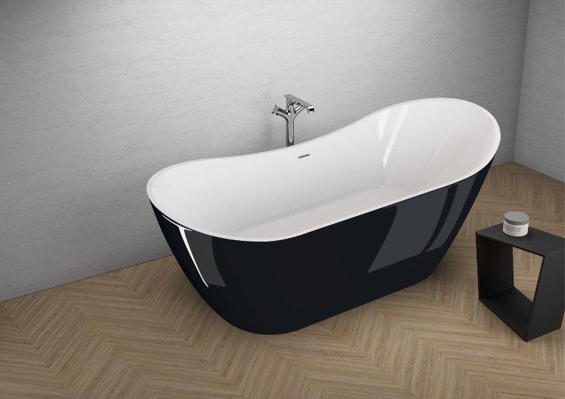 Отдельностоящая ванна ABI ЧЕРНАЯ БЛЕСК 180 x 80 см
