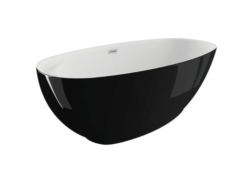 Отдельностоящая ванна KIVI ЧЕРНАЯ БЛЕСК 165 x 75 см