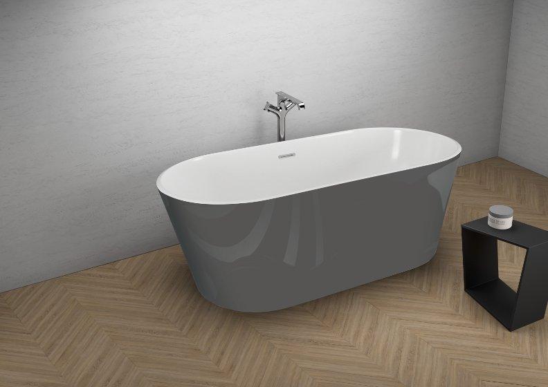 Отдельностоящая ванна UZO СТИЛЬНЫЙ ГРАФИТ 160 x 80 см